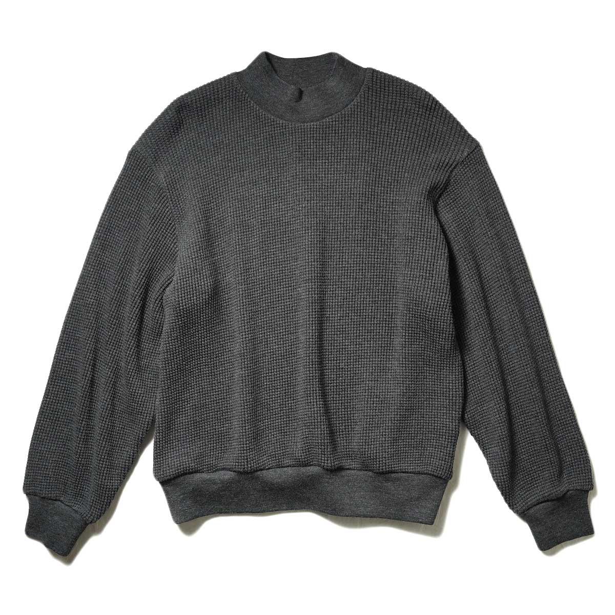 blurhms / Wool Cotton Big Waffle Mock-neck (Heather Charcoal)