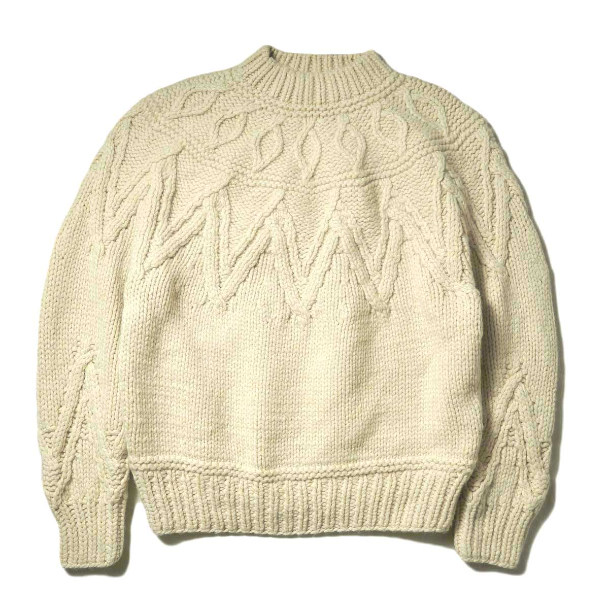 blurhms / Hand-knitted Solid Color Nordic Sweater (Ivory)