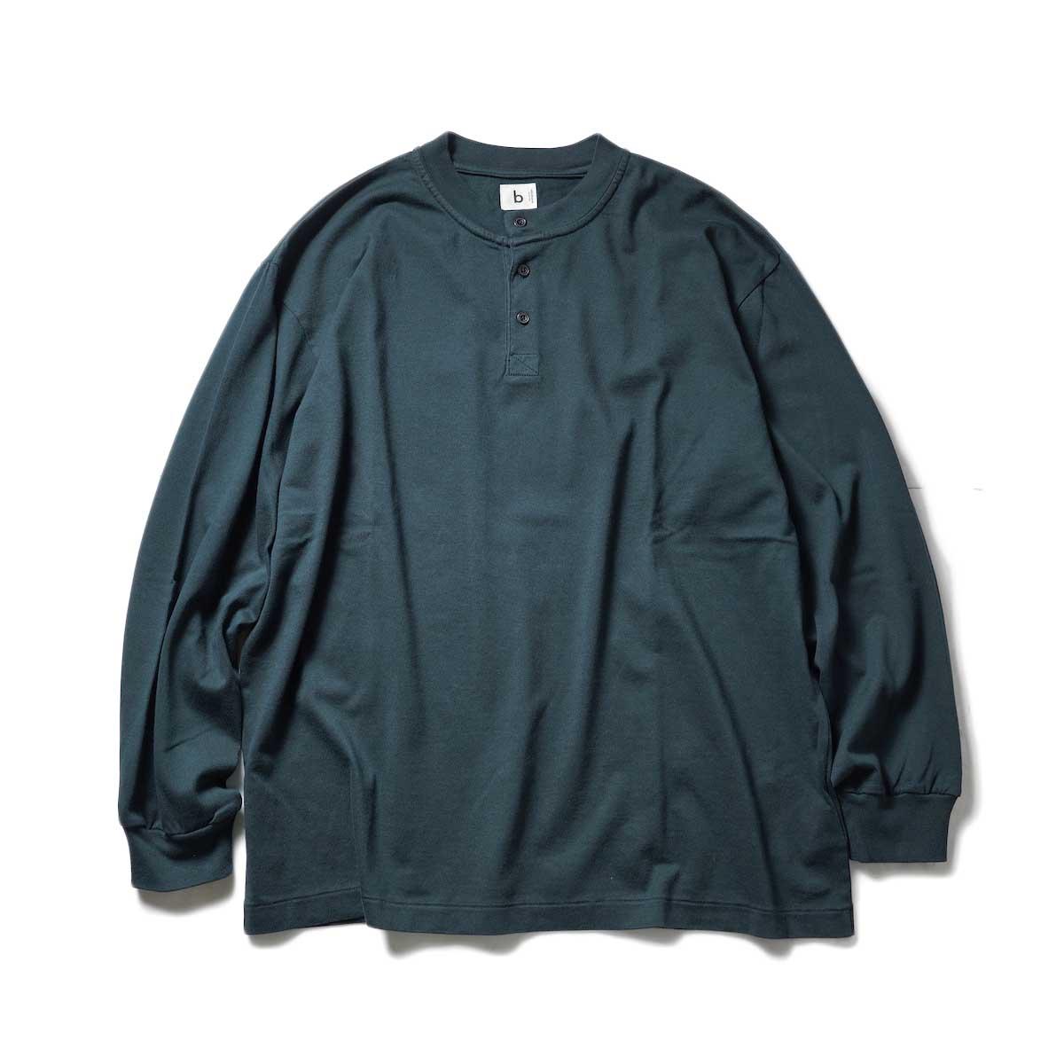 blurhms / Extra Soft Henley-neck BIG L/S (BlackGreen)