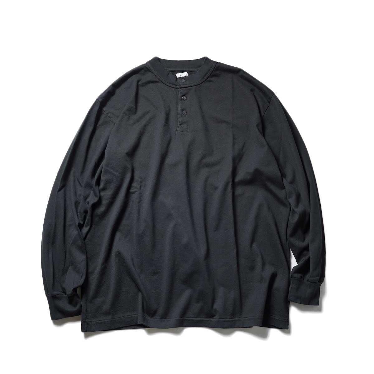 blurhms / Extra Soft Henley-neck BIG L/S (Black)