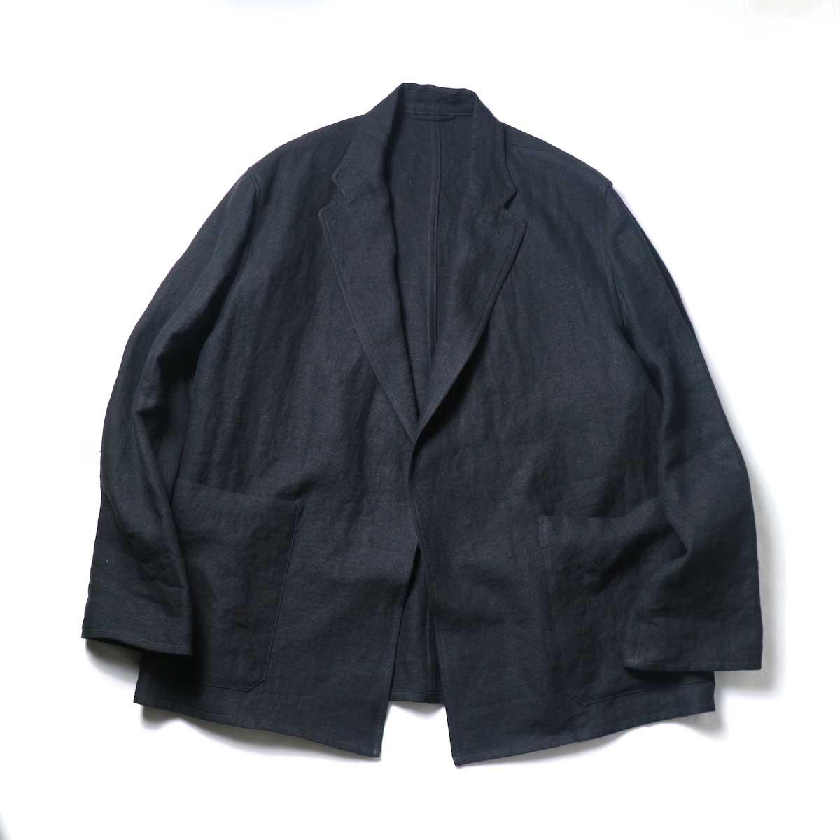 blurhms / Wash Linen Cardigan Jacket (Black)正面