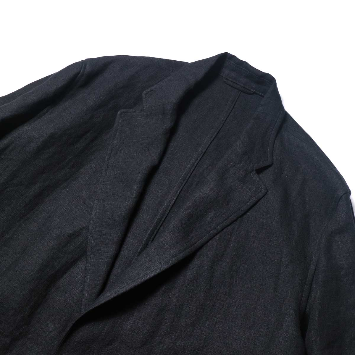 blurhms / Wash Linen Cardigan Jacket (Black)ノッチドラペル