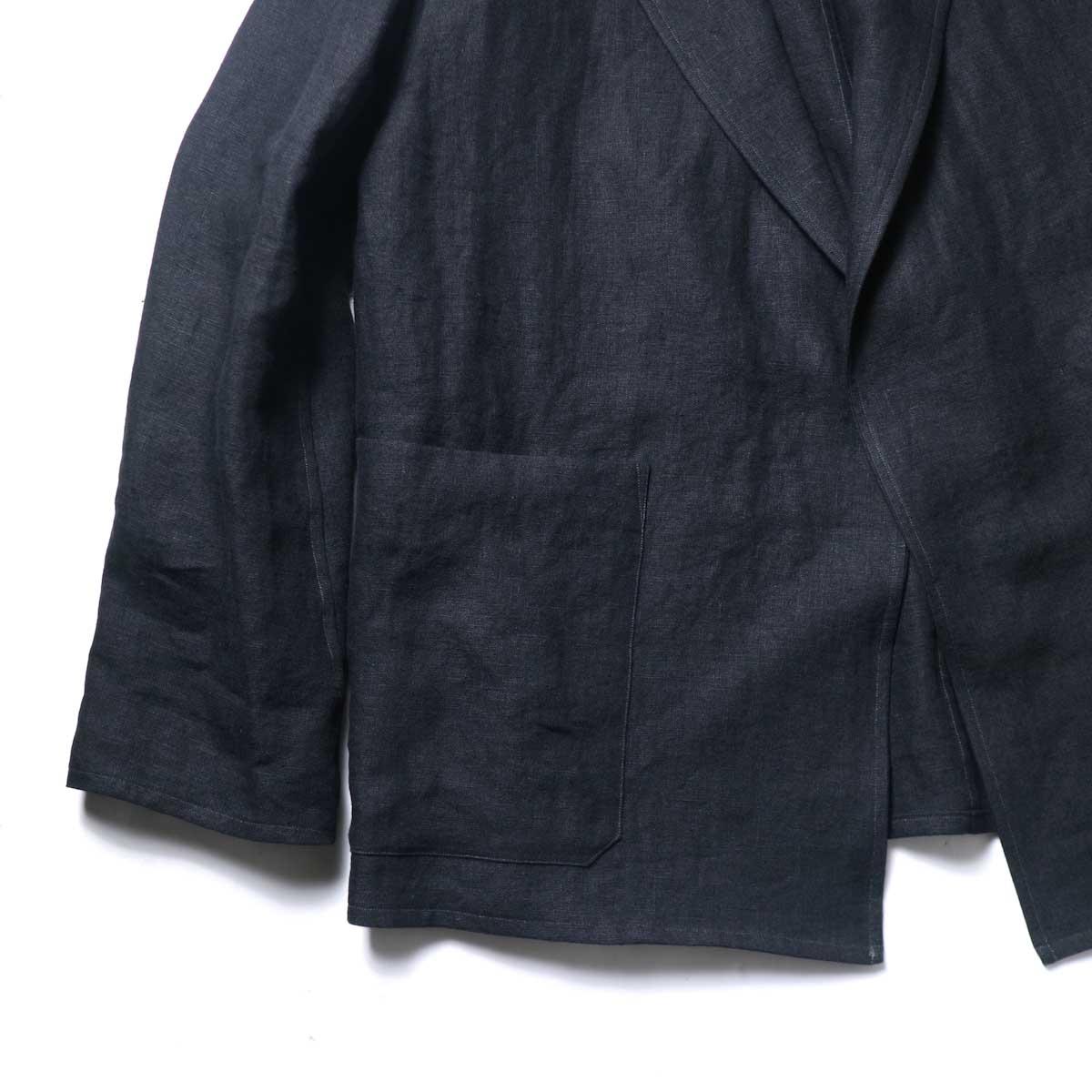 blurhms / Wash Linen Cardigan Jacket (Black)ポケット