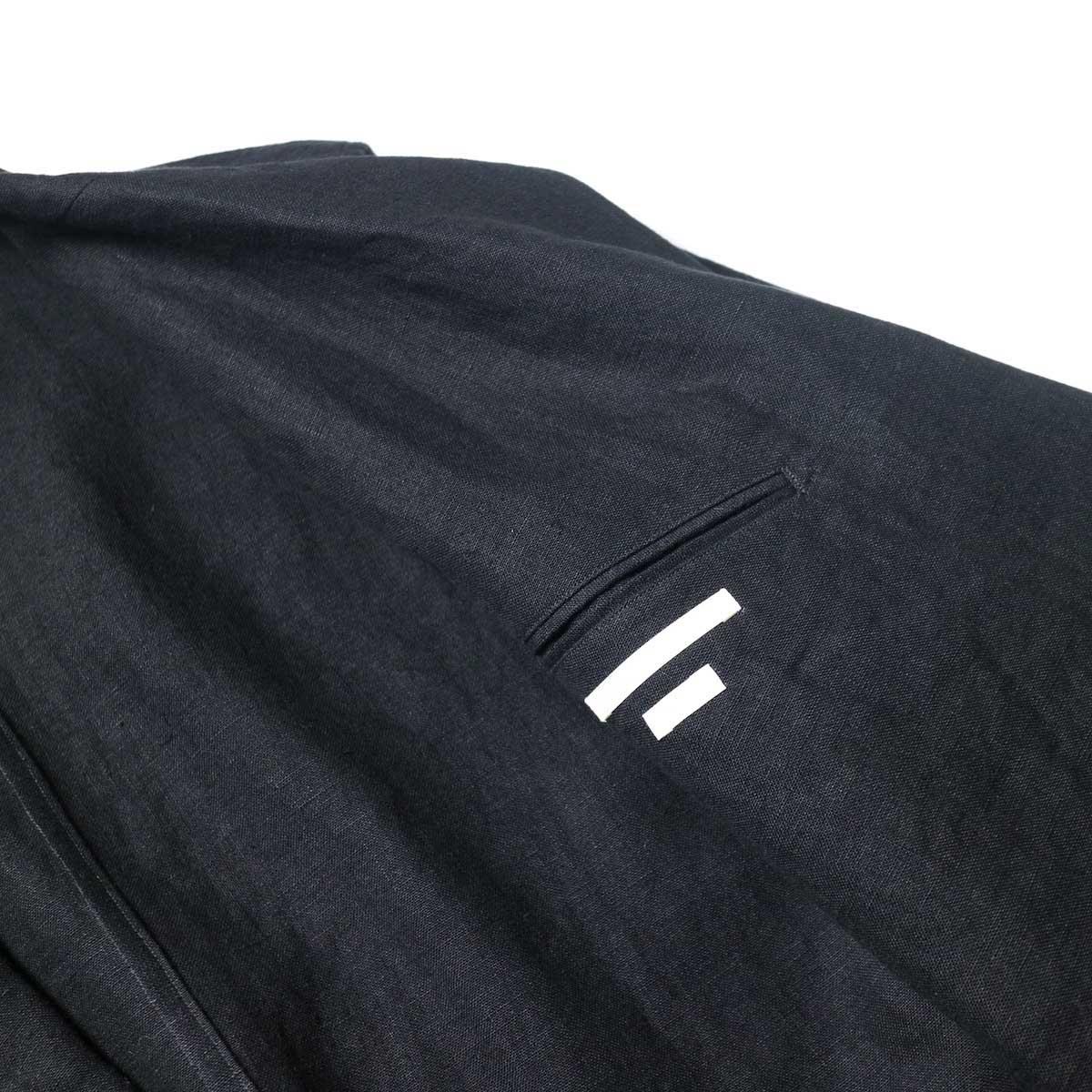 blurhms / Wash Linen Cardigan Jacket (Black)内ポケット