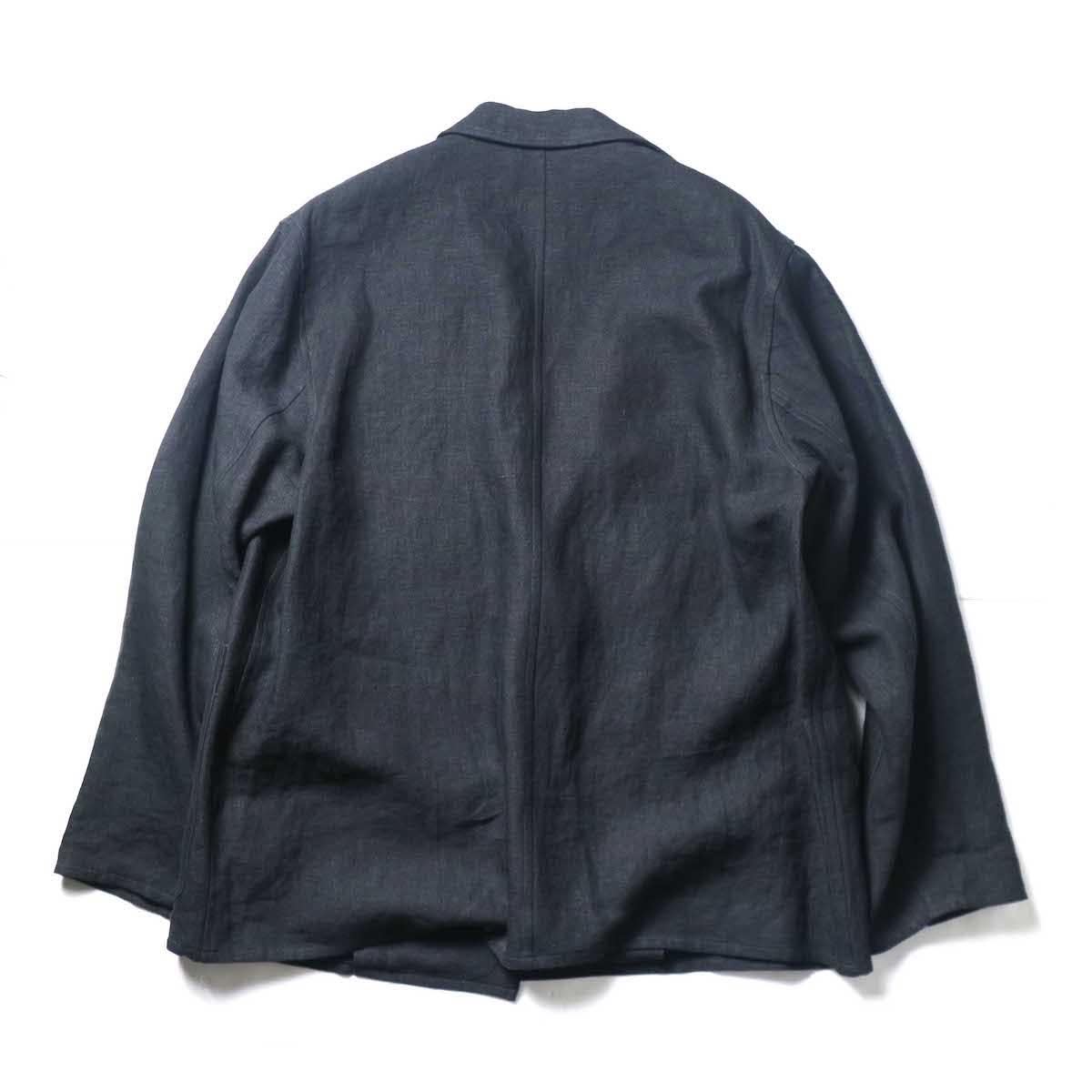blurhms / Wash Linen Cardigan Jacket (Black)背面