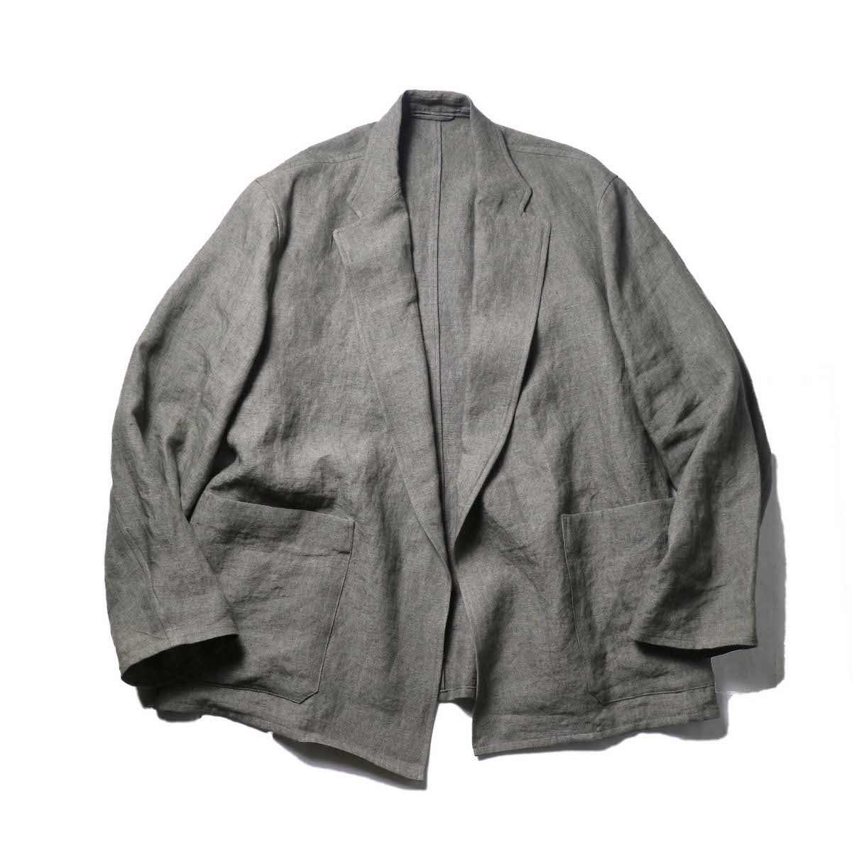 blurhms / Wash Linen Cardigan Jacket (KhakiGrey)正面
