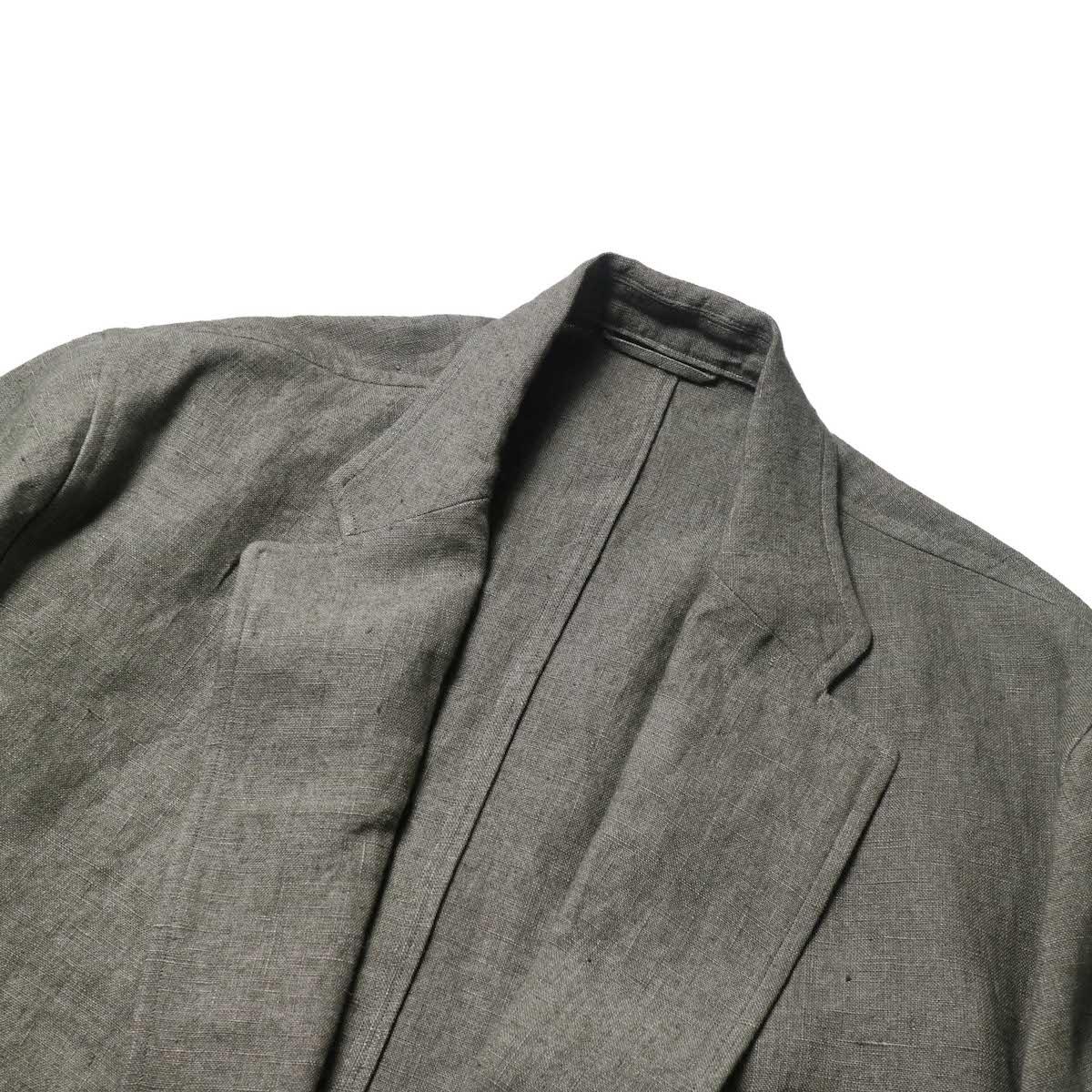 blurhms / Wash Linen Cardigan Jacket (KhakiGrey)ノッチドラペル