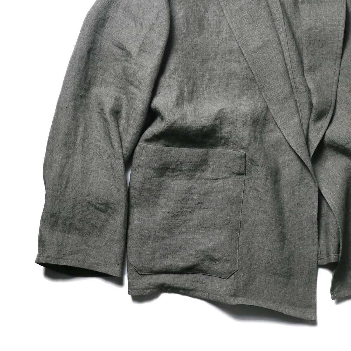 blurhms / Wash Linen Cardigan Jacket (KhakiGrey)ポケット