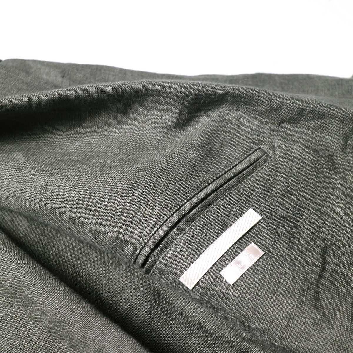 blurhms / Wash Linen Cardigan Jacket (KhakiGrey)内ポケット
