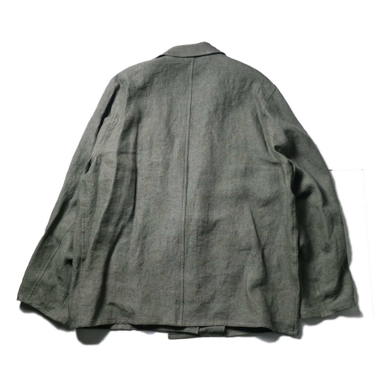 blurhms / Wash Linen Cardigan Jacket (KhakiGrey)背面