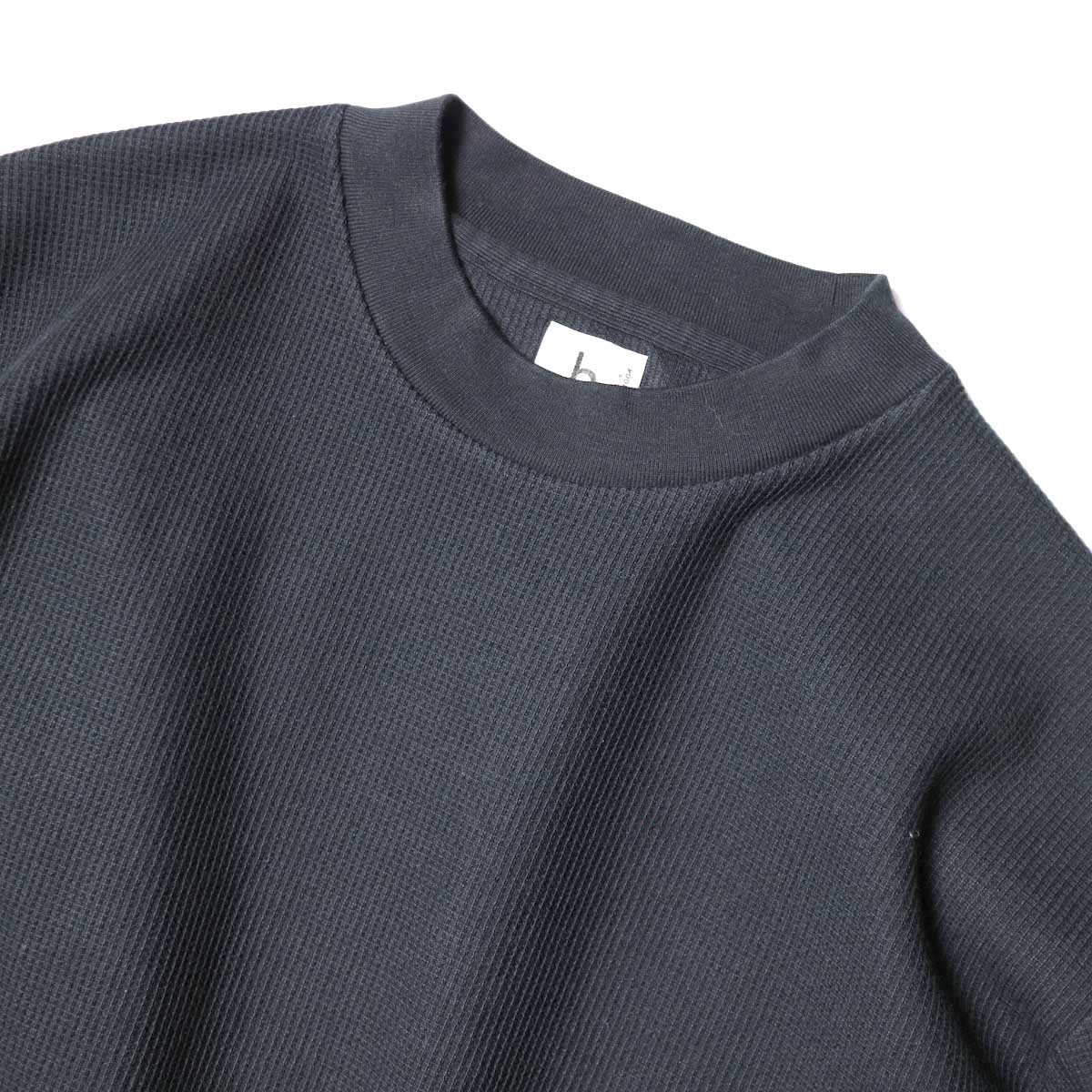 blurhms / Rough&Smooth Thermal Pullover S/S (Black) 襟