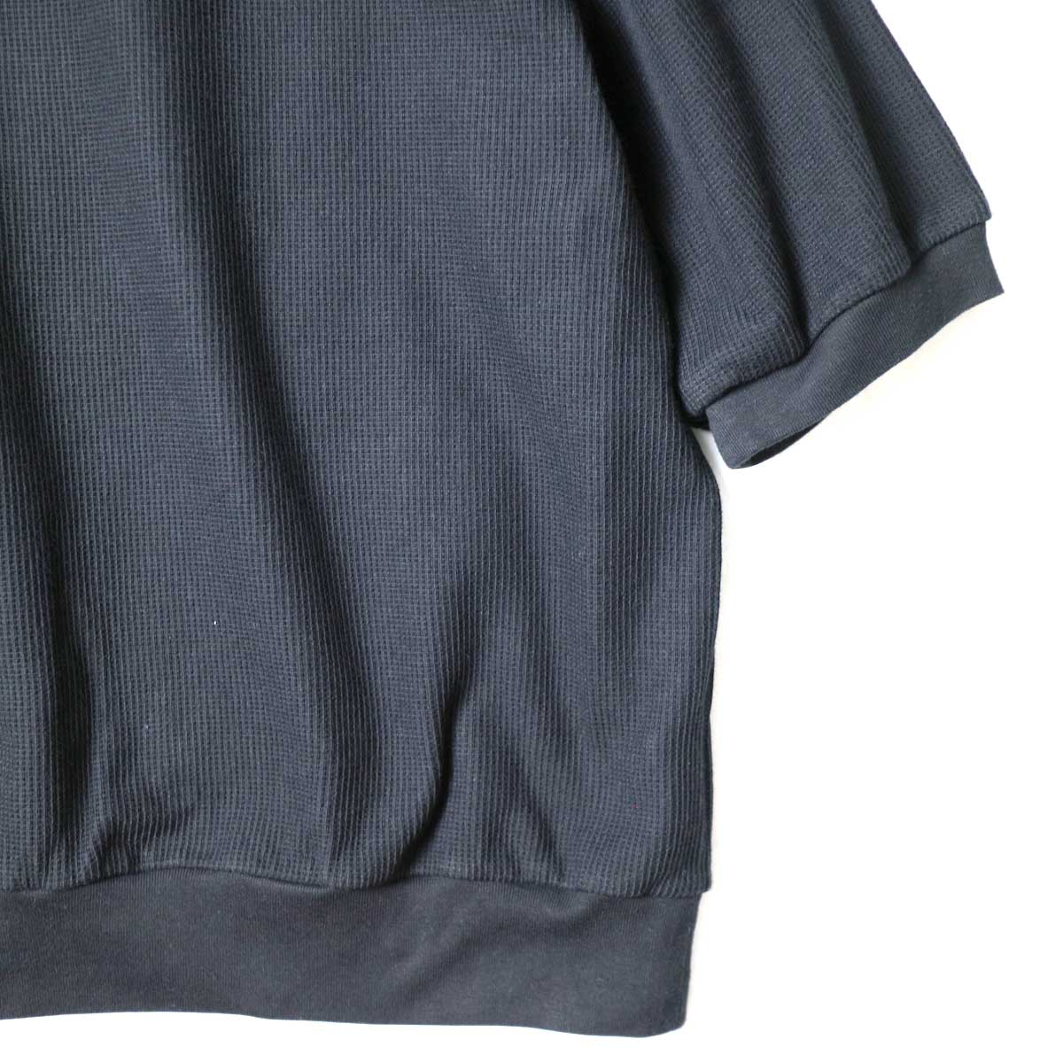 blurhms / Rough&Smooth Thermal Pullover S/S (Black) 袖・裾