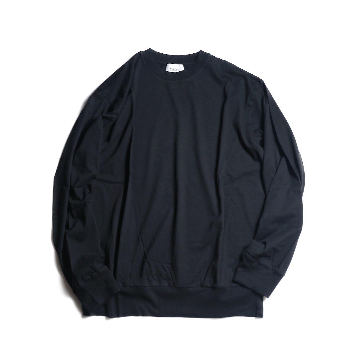 blurhms / Silk Cotton Jersey L/S P/O Loose Fit (Black)正面