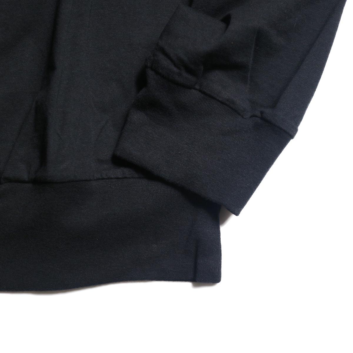 blurhms / Silk Cotton Jersey L/S P/O Loose Fit (Black)袖、裾