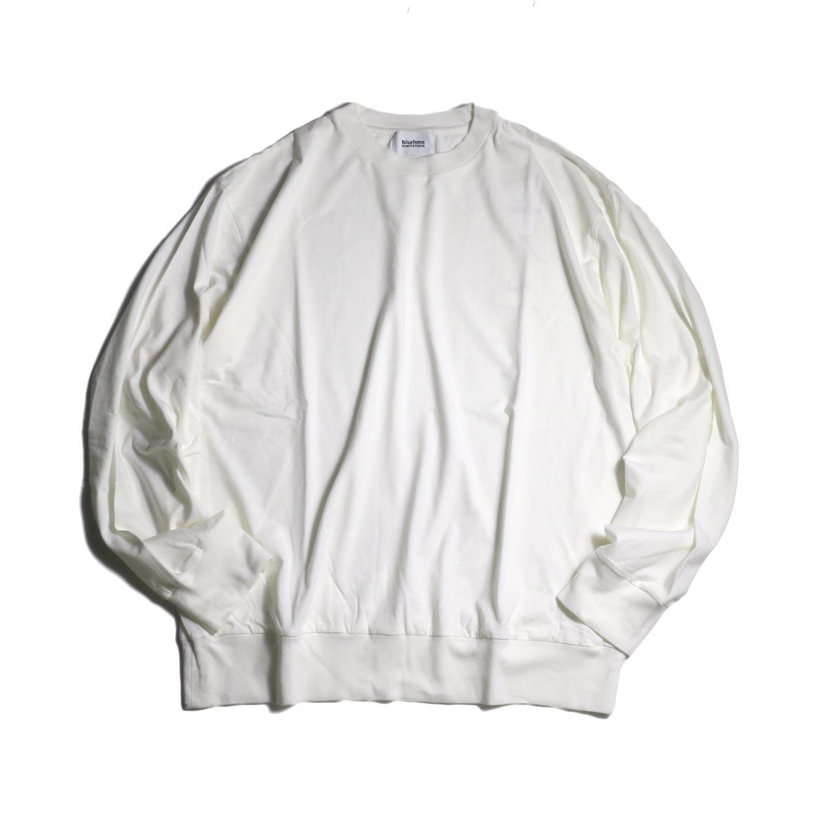 blurhms / Silk Cotton Jersey L/S P/O Loose Fit (White)正面