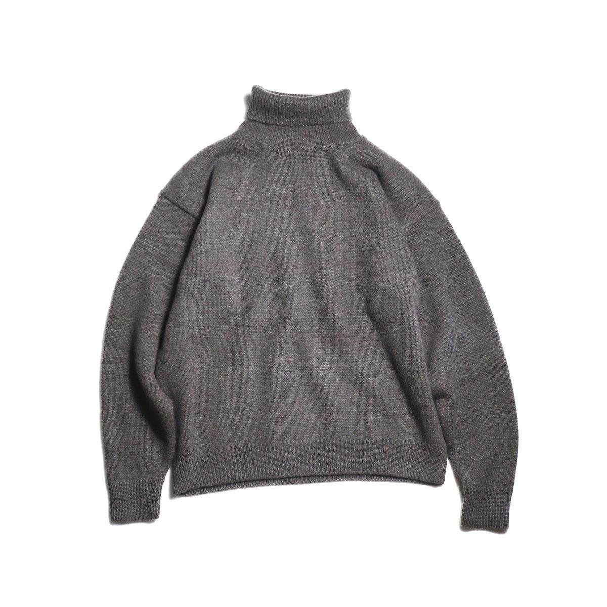 blurhms / Silk Mohair Wool Knit Turtle-Neck P/O (H.Brown) 正面