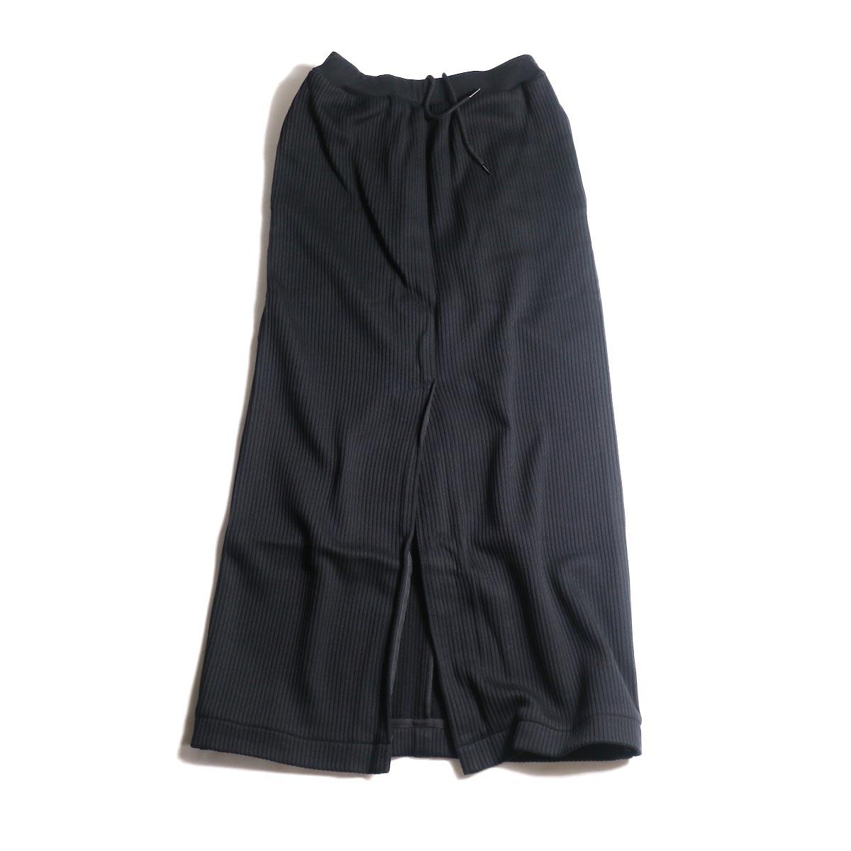 blurhms / Cotton Wide-wale Slit Skirt (Black)