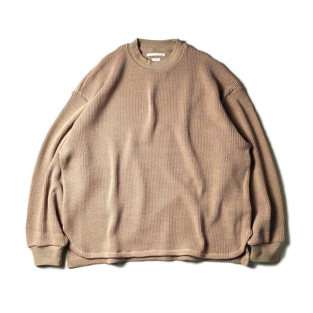 blurhms / Wool Cotton Big Waffle Crew-Neck (Beige)正面
