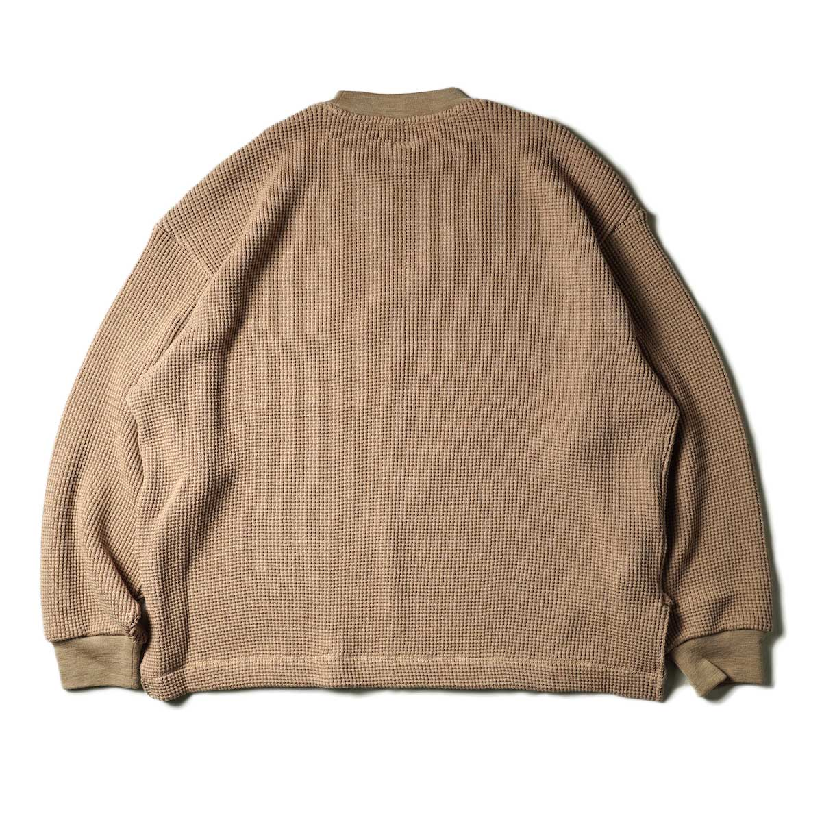 blurhms / Wool Cotton Big Waffle Crew-Neck (Beige)背面