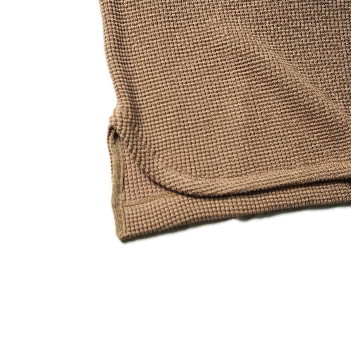 blurhms / Wool Cotton Big Waffle Crew-Neck (Beige)裾