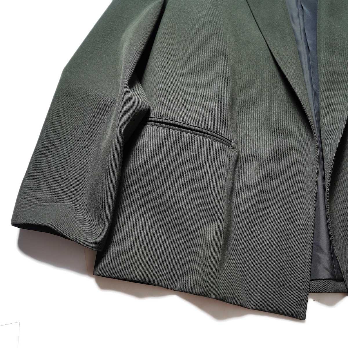 blurhms / Wool Surge Cardigan Jacket (Khaki Grey)ポケット