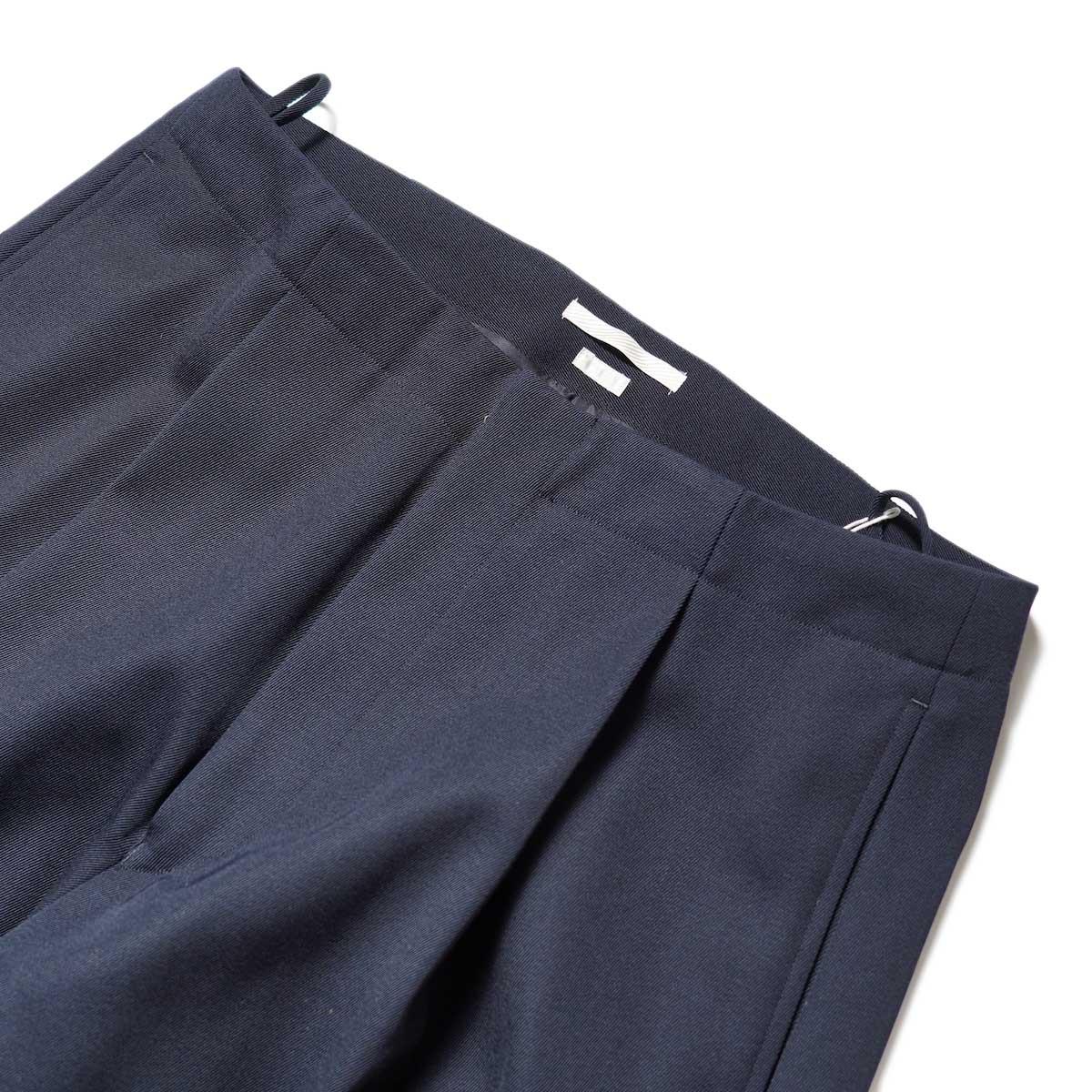 Blurhms / Wool Surge Super Wide Easy Slacks (Dark Navy)ウエスト、1タック