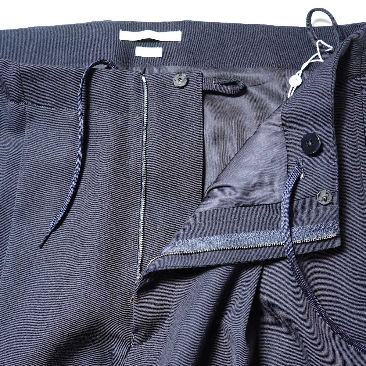 Blurhms / Wool Surge Super Wide Easy Slacks (Dark Navy)ジップ
