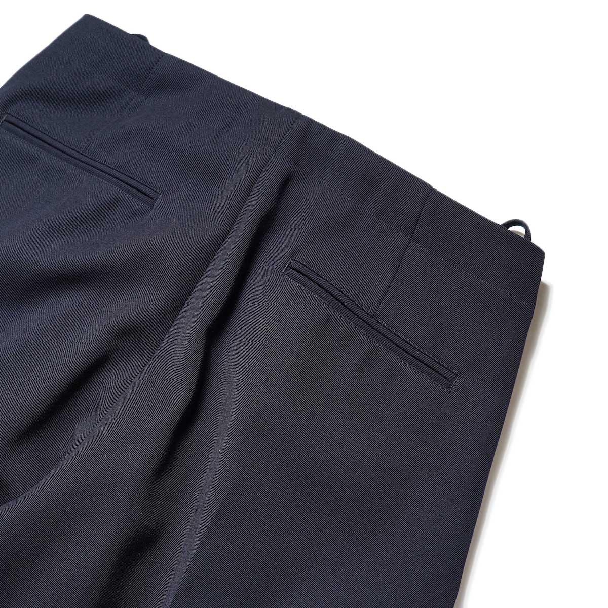 Blurhms / Wool Surge Super Wide Easy Slacks (Dark Navy)ヒップポケット