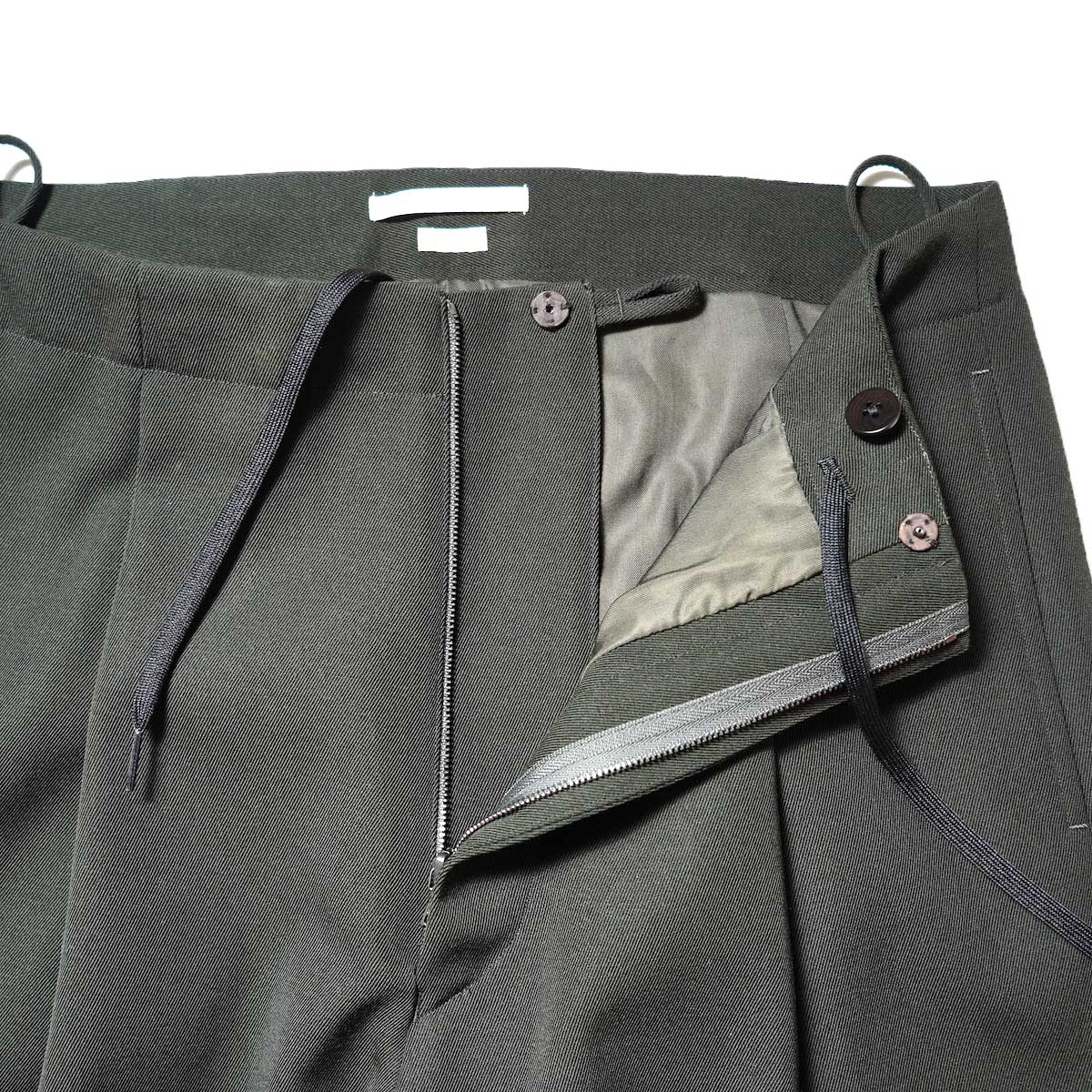 Blurhms / Wool Surge Super Wide Easy Slacks (Khaki Grey)ジップ