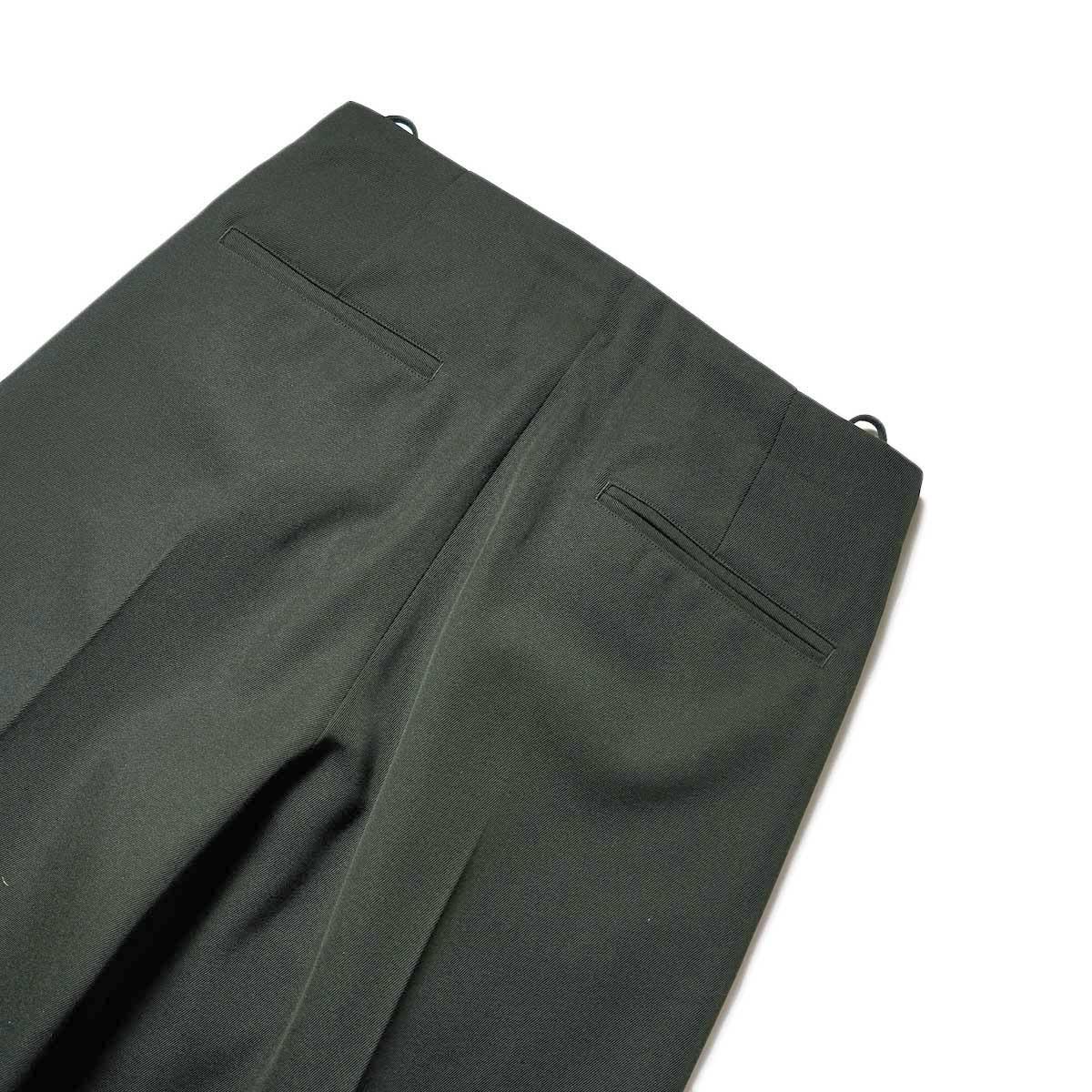Blurhms / Wool Surge Super Wide Easy Slacks (Khaki Grey)ヒップポケット