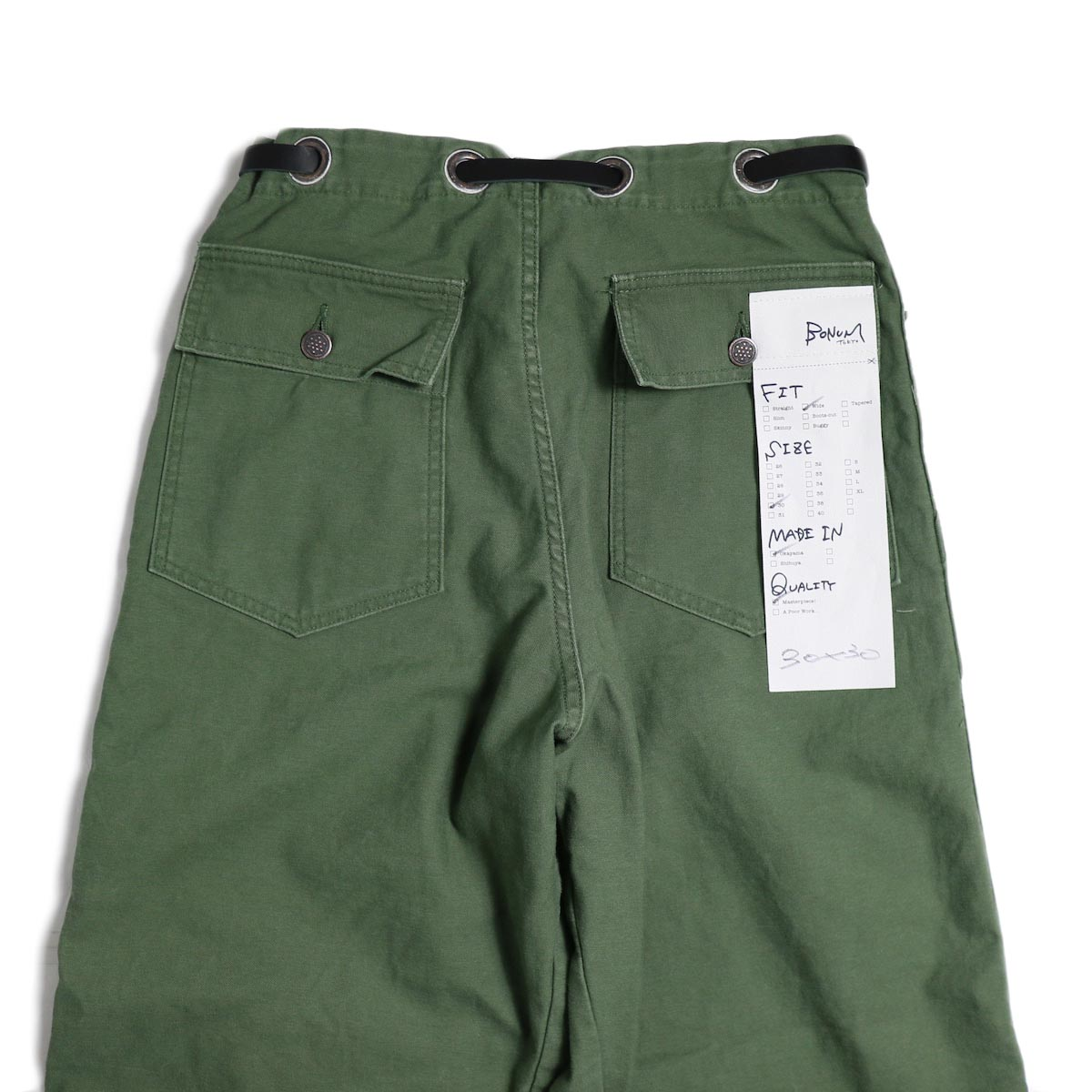 BONUM / OR DEADSTOCK BELTED ARMY PTS ヒップポケット