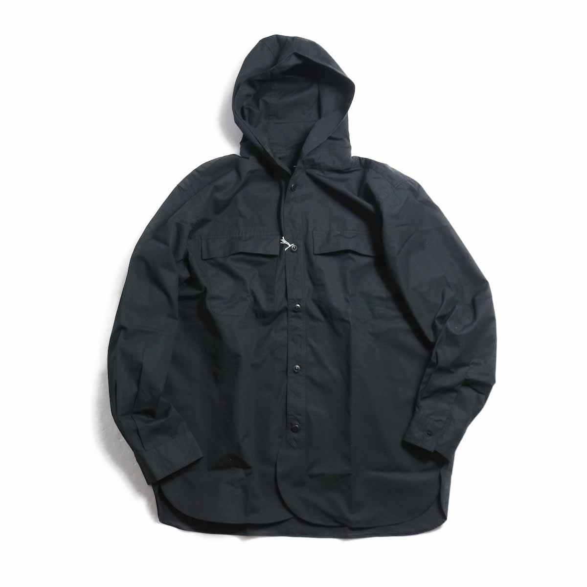 BRENA / Hood Work Shirt -Black 正面