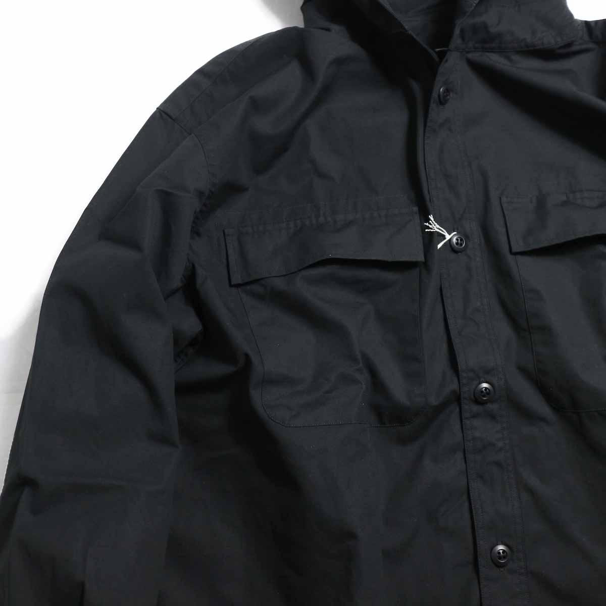 BRENA / Hood Work Shirt -Black ポケット