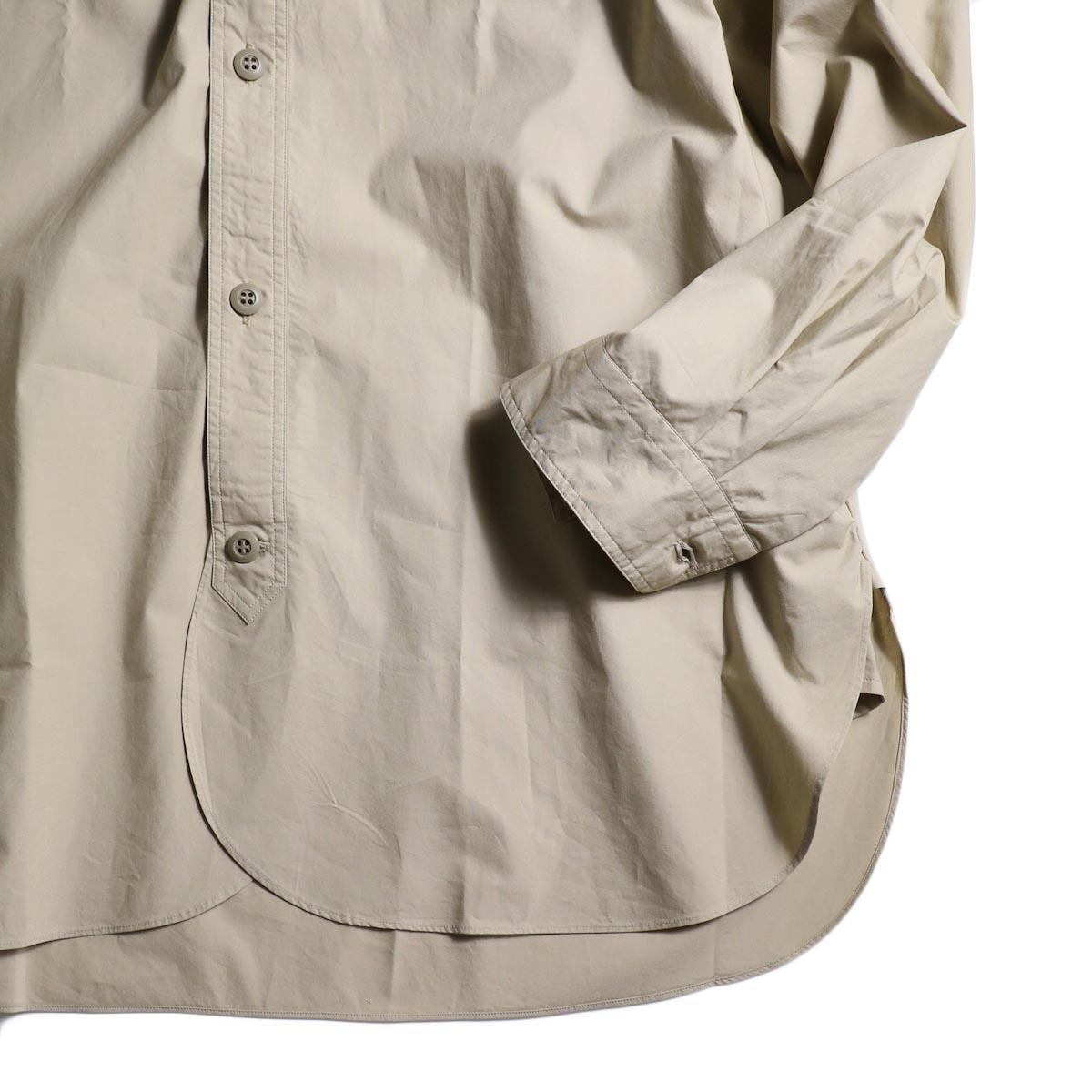 BRENA / Hood Work Shirt (Sand)袖、裾