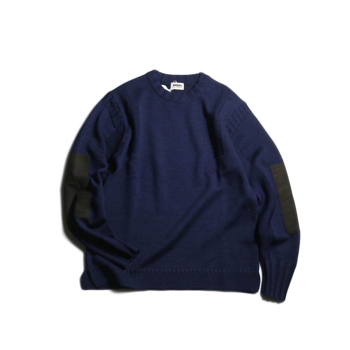 """BRENA / """"PECHEUR"""" Crew Neck Sweater (Navy)"""