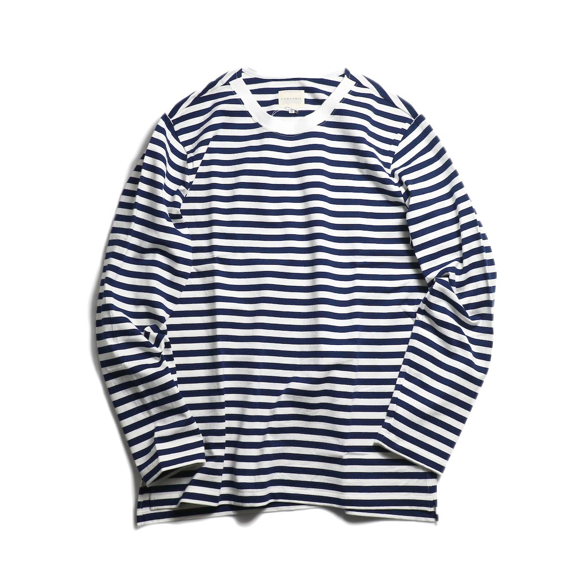 CURLY / Bright LS Border Tee -White/Navy 正面