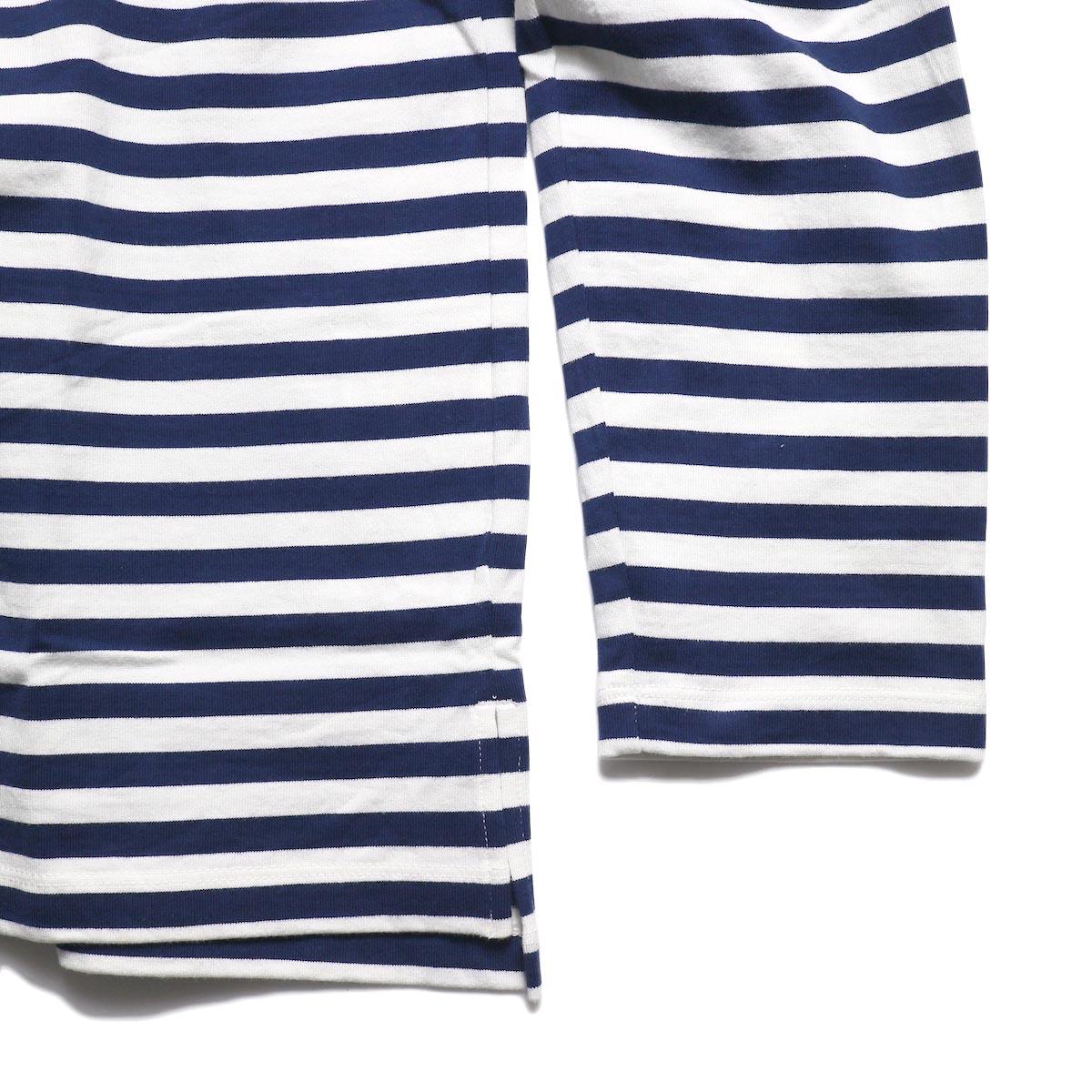 CURLY / Bright LS Border Tee -White/Navy 裾
