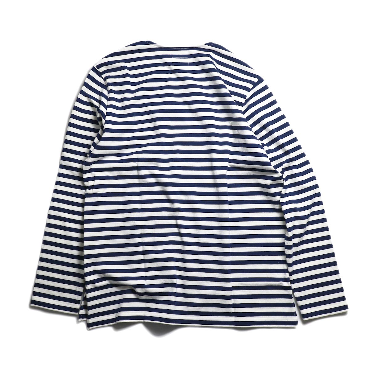 CURLY / Bright LS Border Tee -White/Navy 背面