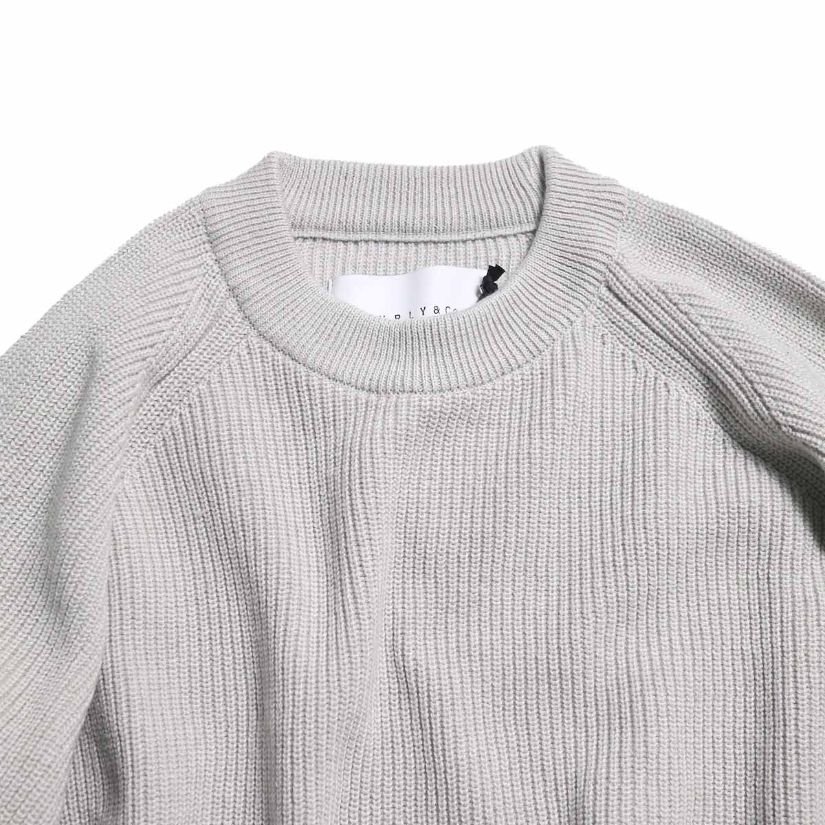 CURLY / Assembly Crew Knit -Lt Gray 首元