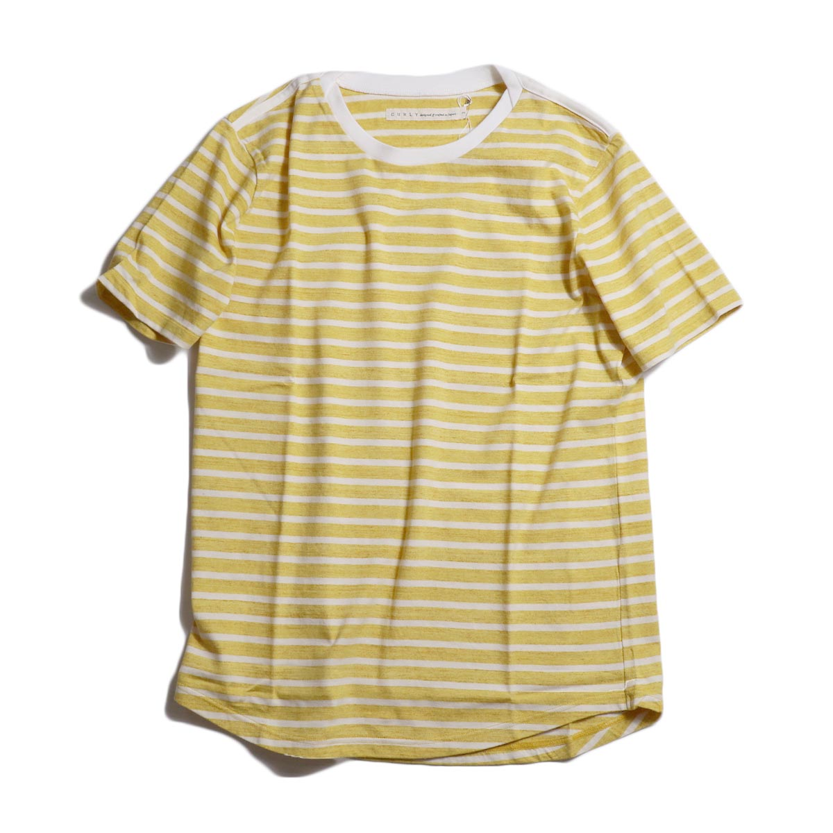 CURLY / BRUSH BORDER SS TEE -Yellow/White