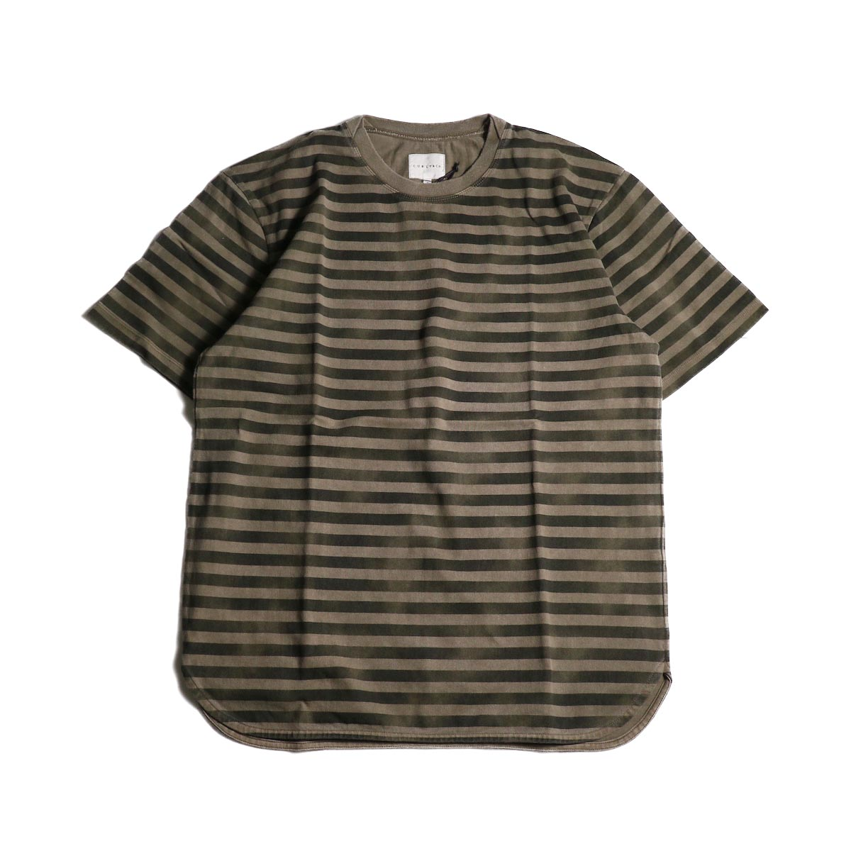 CURLY / FROSTED SS BORDER TEE (Beige/Black)正面