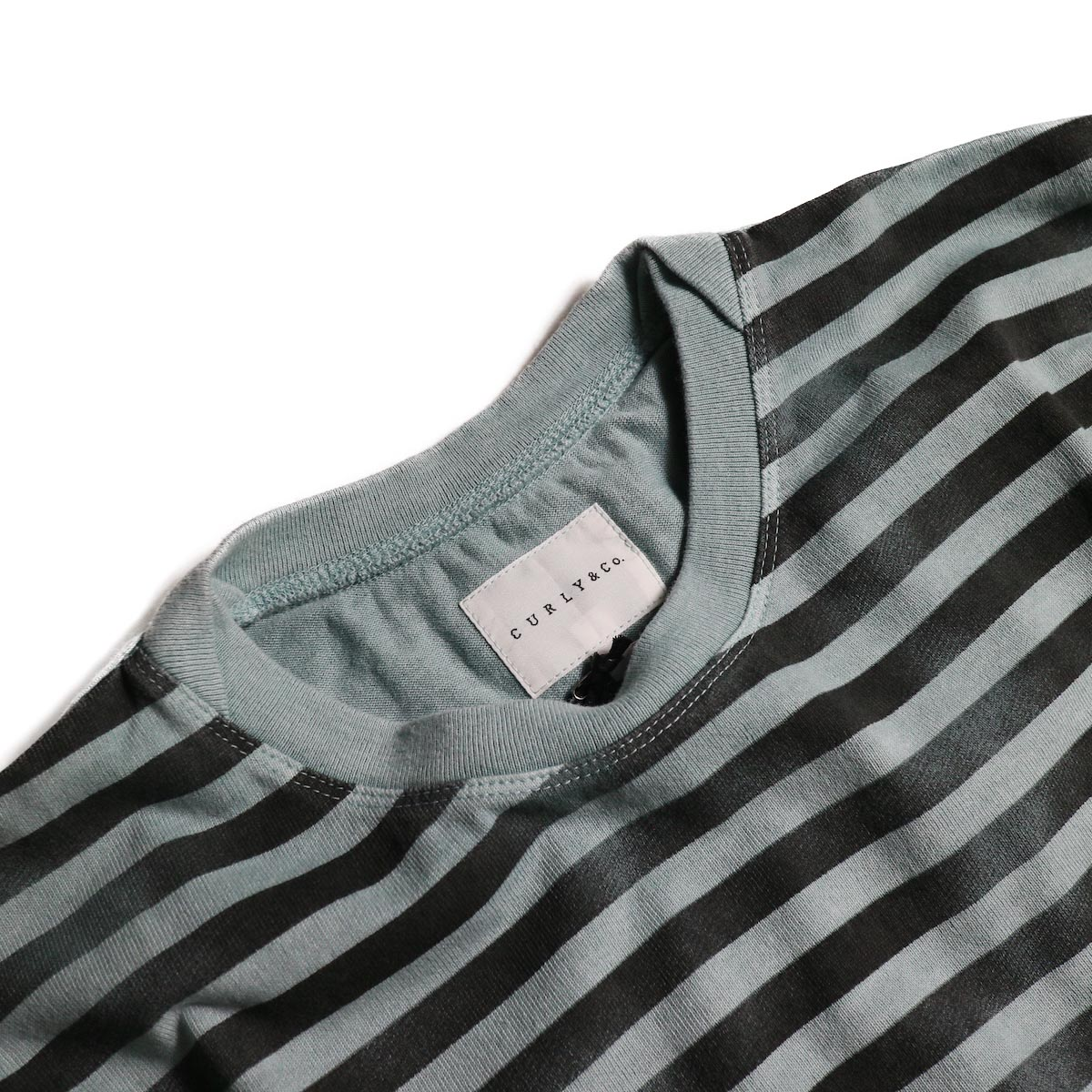 CURLY / FROSTED SS BORDER TEE (Blue/Black)クルーネック