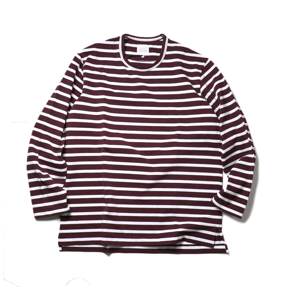 CURLY / SALFORD L/S BORDER TEE (Burgundy / White)