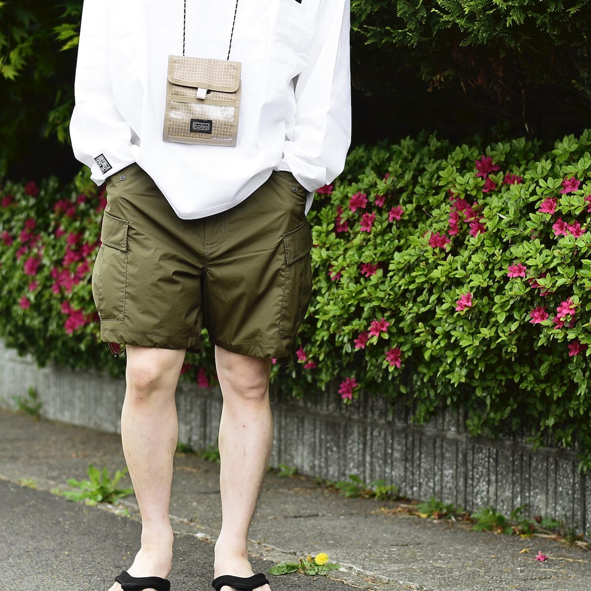 DAIWA PIER39 / Micro Rip-Stop Easy 6P Shorts (Dark Olive)着用イメージ② (162cm Msize)