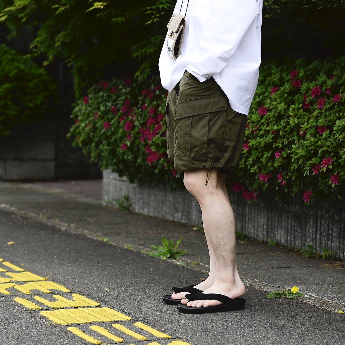 DAIWA PIER39 / Micro Rip-Stop Easy 6P Shorts (Dark Olive) 着用イメージ (162cm Msize)