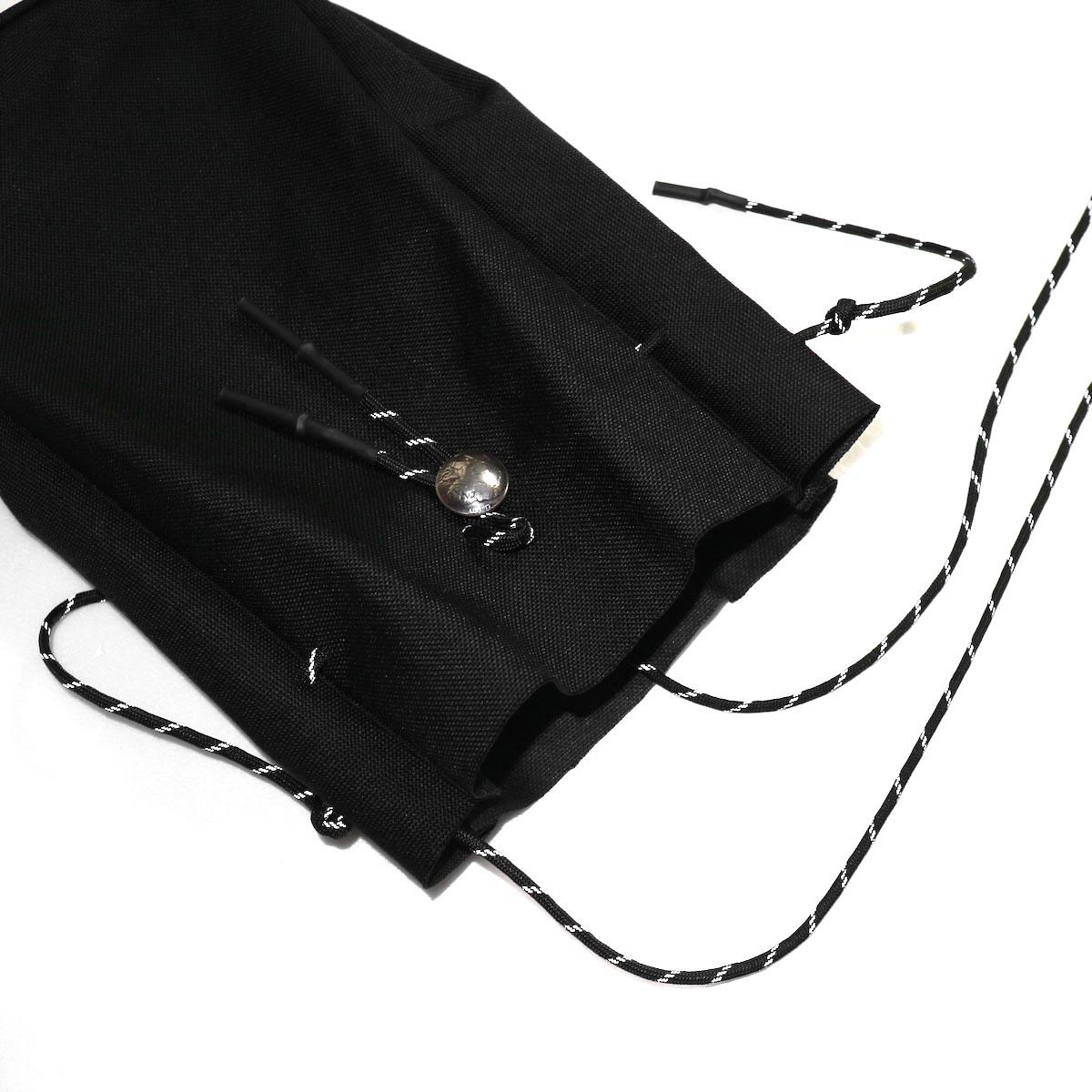 吉岡衣料店 / drawstring bag -L-. w/concho. black開口部