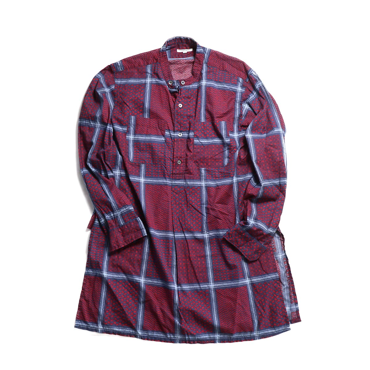 Engineered Garments / Banded Collar Long Shirt - Afghan Print (Nvy/Red)