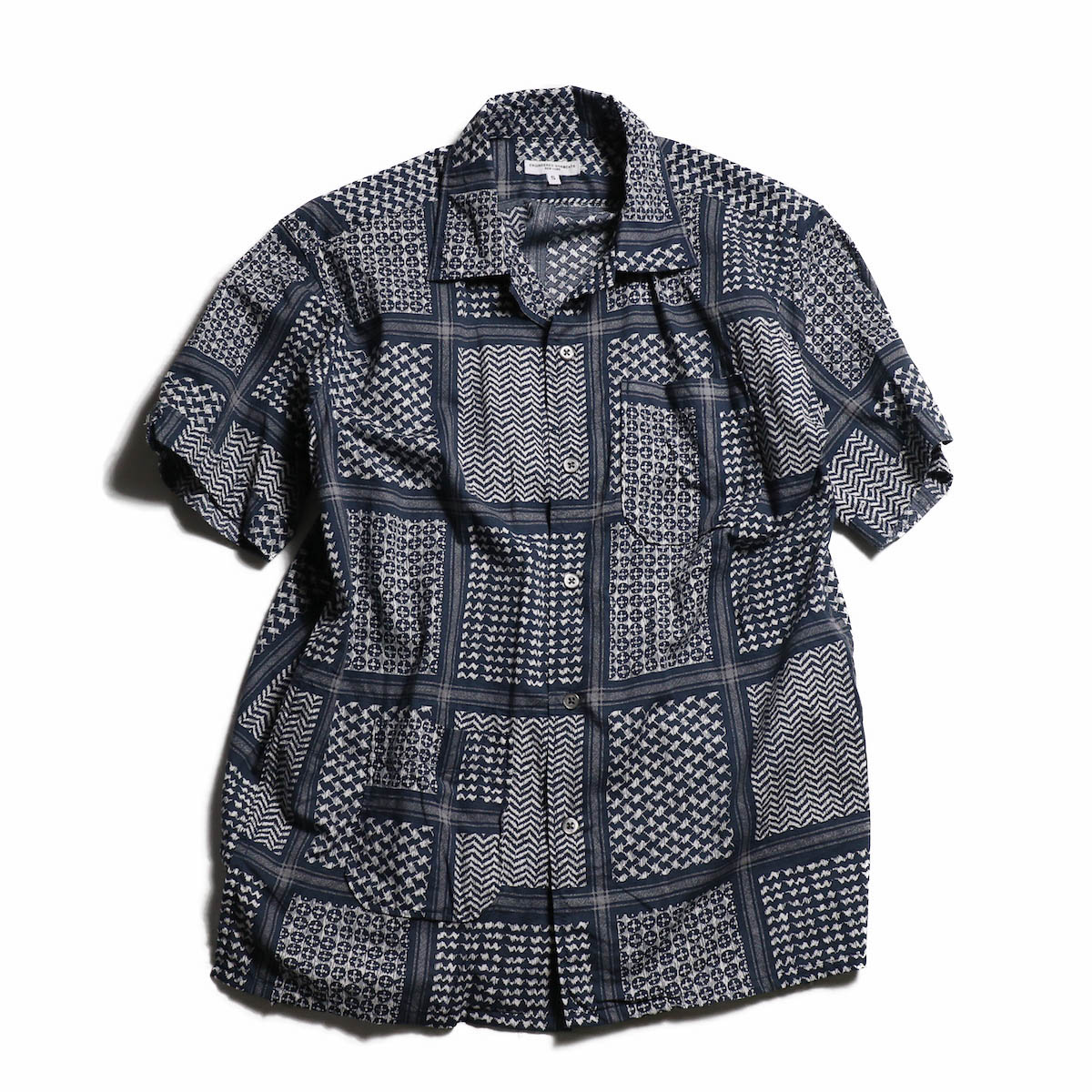 ENGINEERED GARMENTS / Camp Shirt - Afghan Print -Navy/White