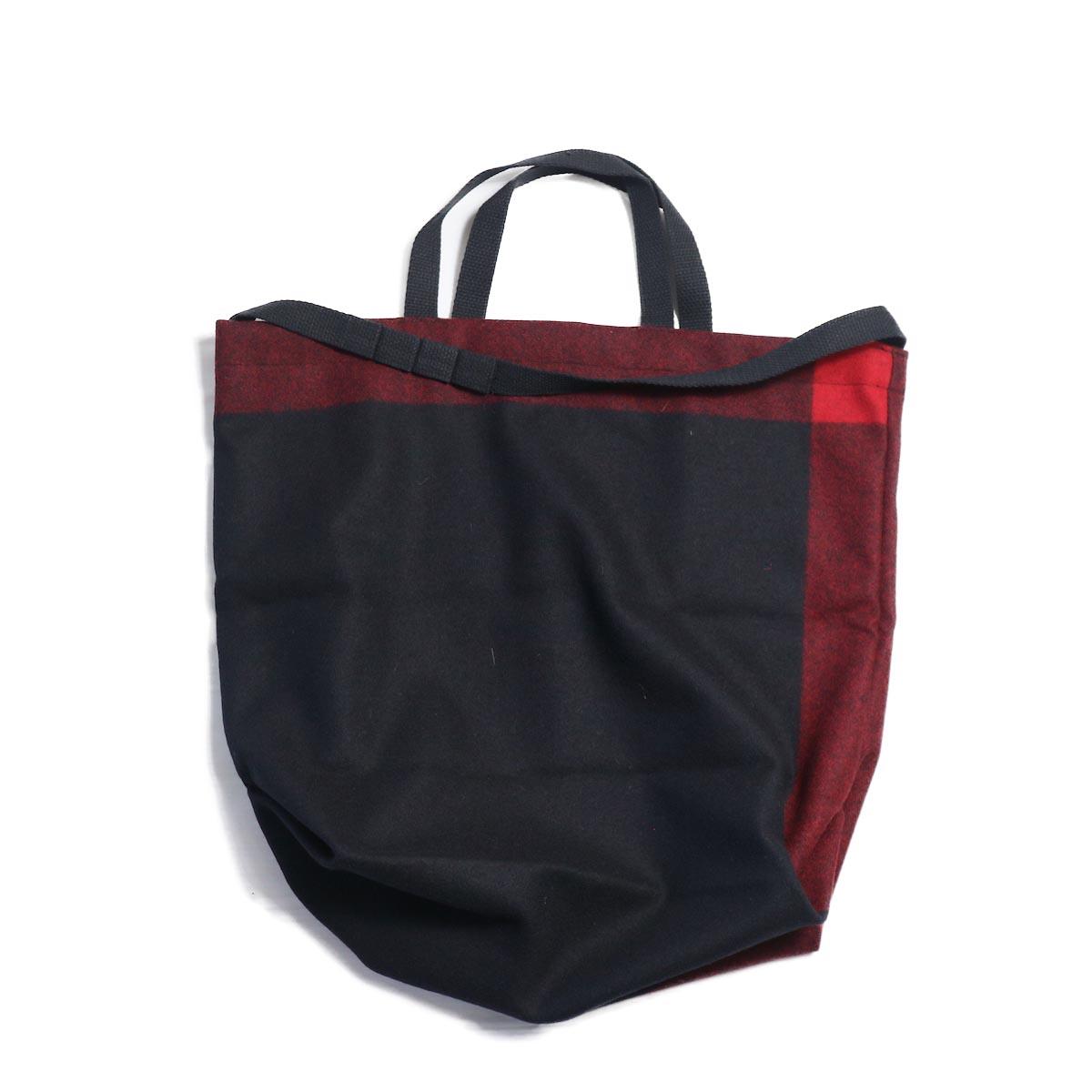 Engineered Garments / Carry All Tote w/ Strap -Big Plaid Wool Melton (Black)