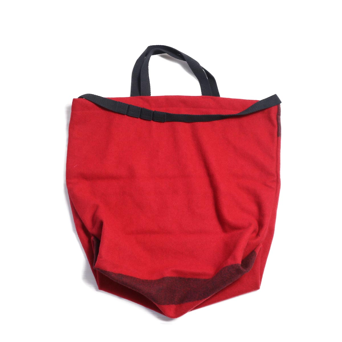 Engineered Garments / Carry All Tote w/ Strap -Big Plaid Wool Melton (Red)